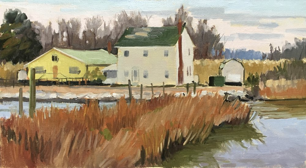 Winter Wharf     11x20 in. oil on linen panel     450.