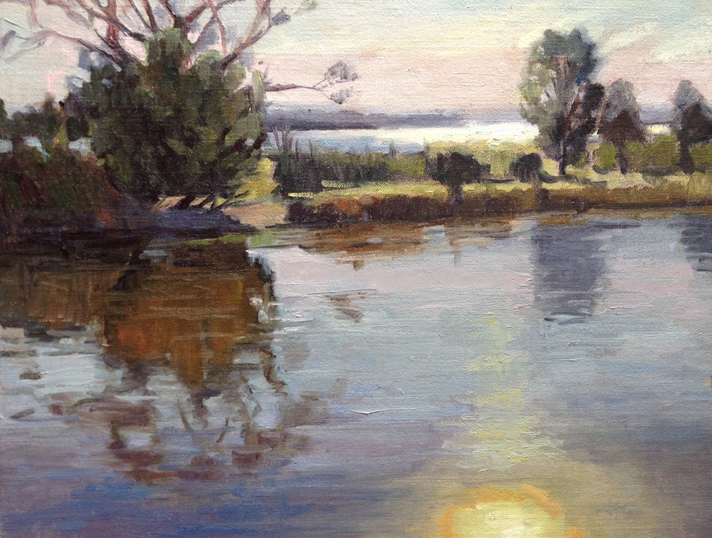 Reflections of a Sunset     11x14 in.  Oil on linen panel    350.