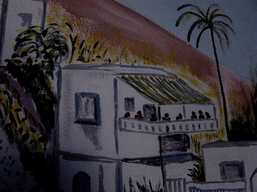 The first Meltemi!  - Full scale painting on wall with images of Donoussa island and Meltemi taverna.Enjoying authentic Greek cuisine surrounded by hand made wall painted art.