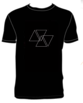 T-SHIRT     (Triangles)   -  Quality: Gildan soft styleBlack T-Shirt with white logo printAvailable in sizes S/M/L/XLPrice: CHF/USD 20, EUR 15 Additional cost for shipping may apply.