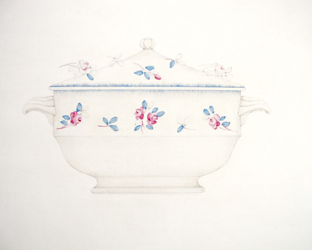 French Tureen (detail)  Acrylic and Pencil on Gesso Panel  26'' X 24''