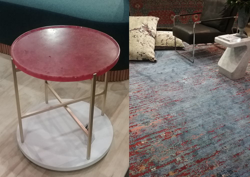 Resin Side Table by  Eugenie Kawabata                //                                     Silk Rug from  Cadrys