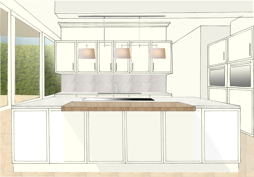 Hand drawn to scale and rendered drawing to help with choosing fixtures and finishes