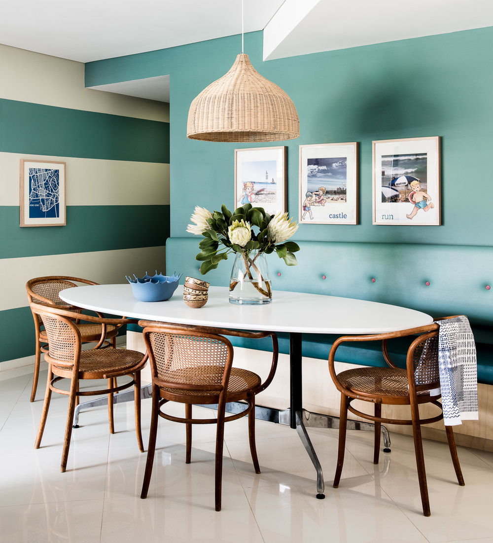 Striped walls give depth to a hallway...and the dreamy aqua tones suit this beachouse fine! Brett Mickan Interior Design