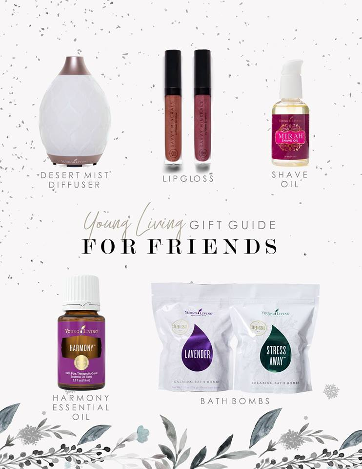 - Some amazing ideas that are SURE to be huge hits for sisters, mamas, best friends & teachers. + LIPGLOSS. If you have never experienced lip gloss with a hint of peppermint oil, PREPARE YOUR HEART! + The Desert Mist Diffuser comes with free 5-ml bottles of Tangerine and Peppermint essential oils and is SO DREAMY.+ Harmony- incredible emotional support. 1-2 drops on wrists, 1 drop on chest or amazing diffused.