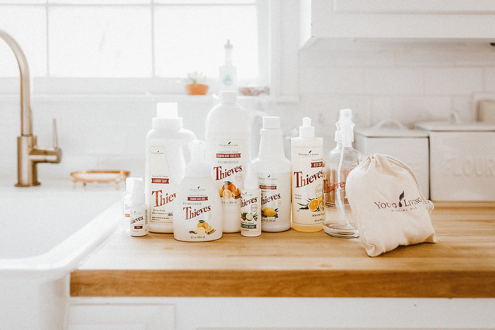 thieves - A non-toxic cleaning line that is safe for your family - and it works. I replaced every single one of my household cleaners with the Thieves Household cleaner, which makes my life so much simpler. They also have a foaming hand soap, laundry soap, and dish soap that I adore!!