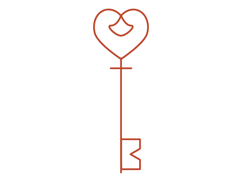 Graphic image of a skeleton key with a heart bow and an M as the bit