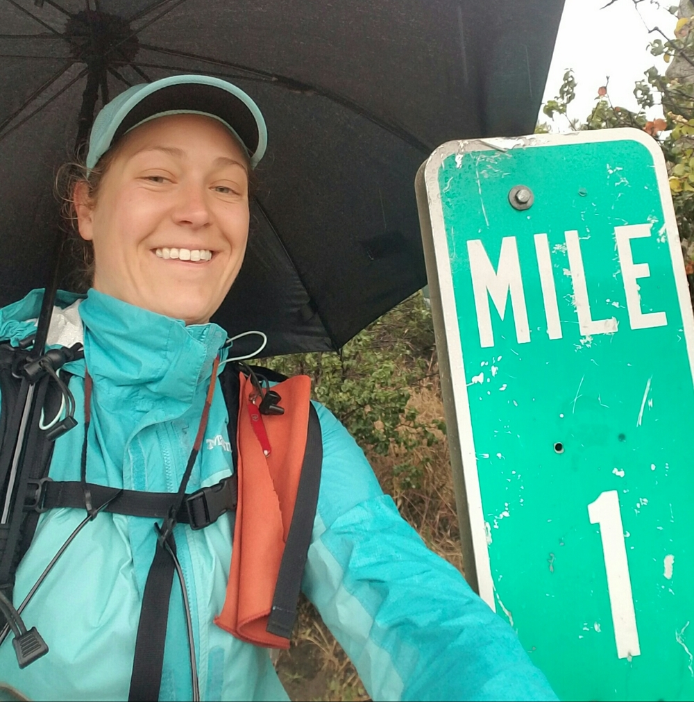 Mile 1! Umbrella out and ready!