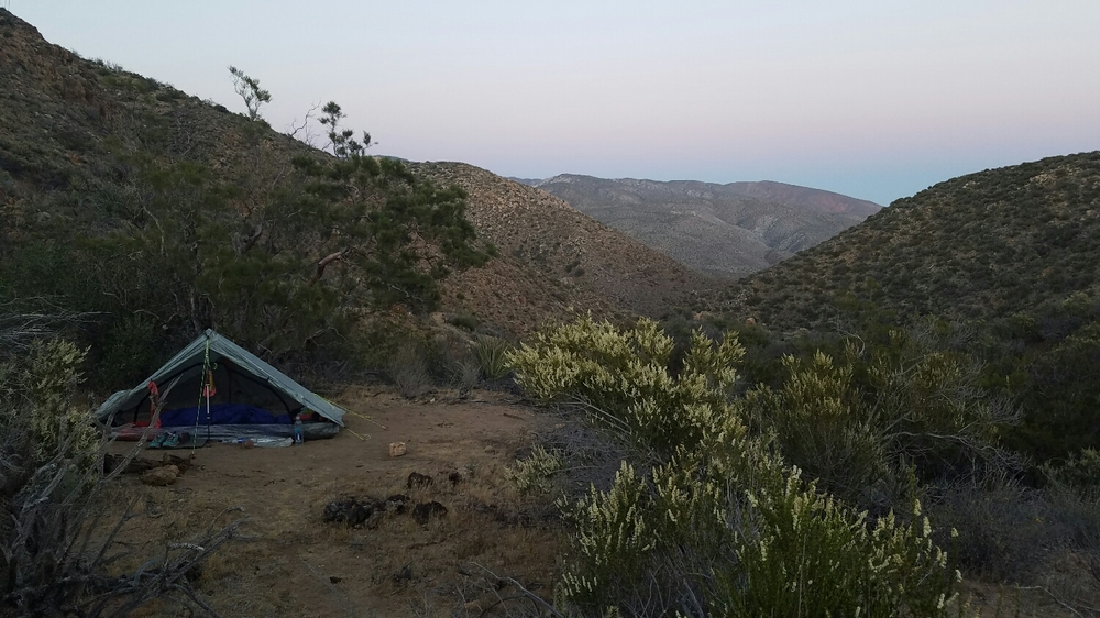 camping spot from the night before.