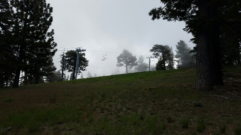 Passing by gondolas, wrightwood is a ski community in the winter.