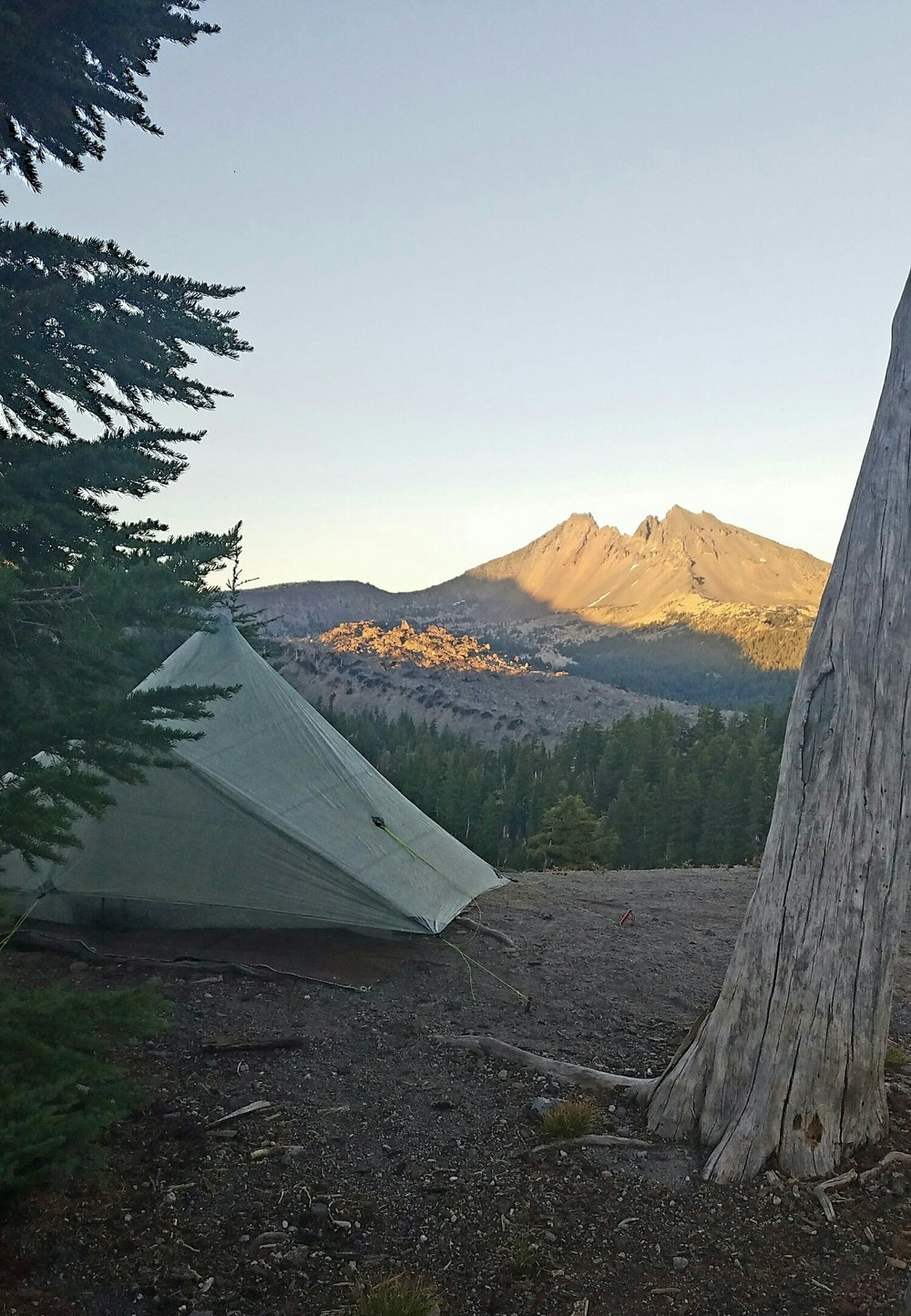 our campsite for the night and view toward Brokentop