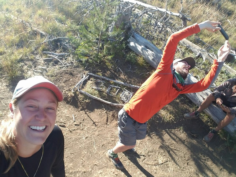 selfies galore at the 2000 mile marker. Here's Sheppard taking one for the records!