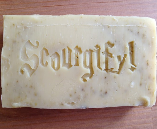 The first stamp test on a batch of plain goat's milk soap - stamp is lookin' good!