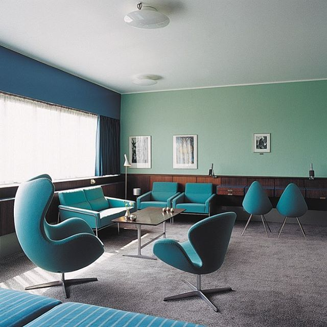 Room 606 at the SAS Royal Hotel in Copenhagen preserved exactly as Arne Jacobsen designed it in 1960. #iwanttogotothere
