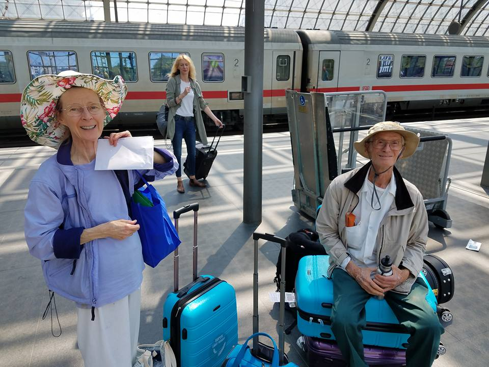 M&J await their train at  Berlin Hauptbanhof  station.