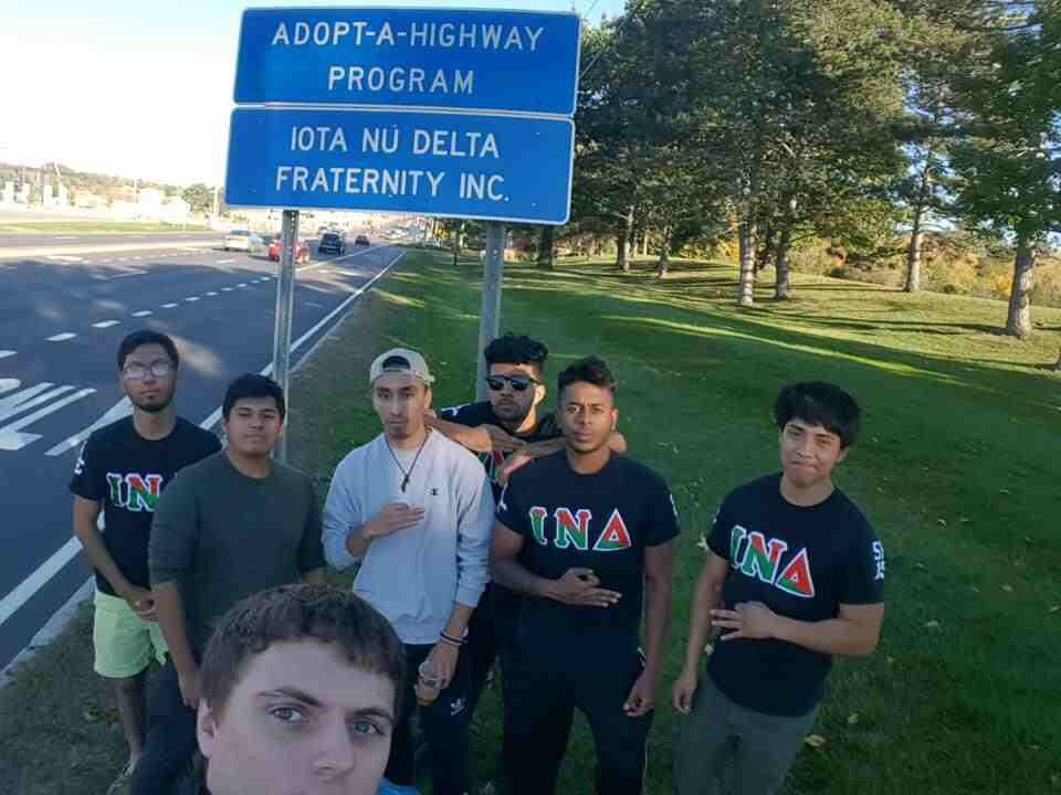 The brothers of Alpha Chapter of Binghamton University participating in Adopt A Highway.