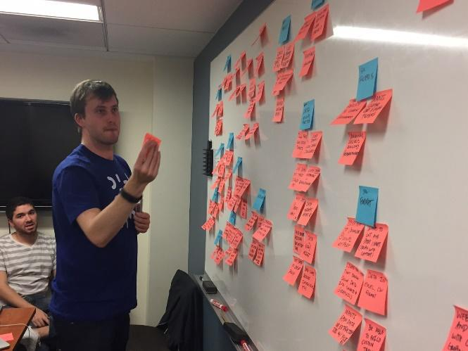 Peter rearranges insights in themes in order to help us visualize key insights across user groups.