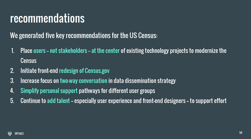 The above shows our five policy recommendations, informed by user research and conversations with our colleagues at the Census Bureau