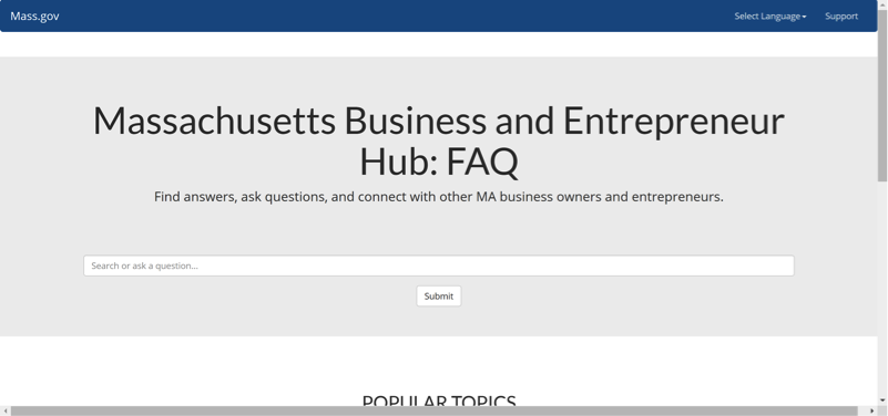 The current prototype of our entrepreneur FAQ hub