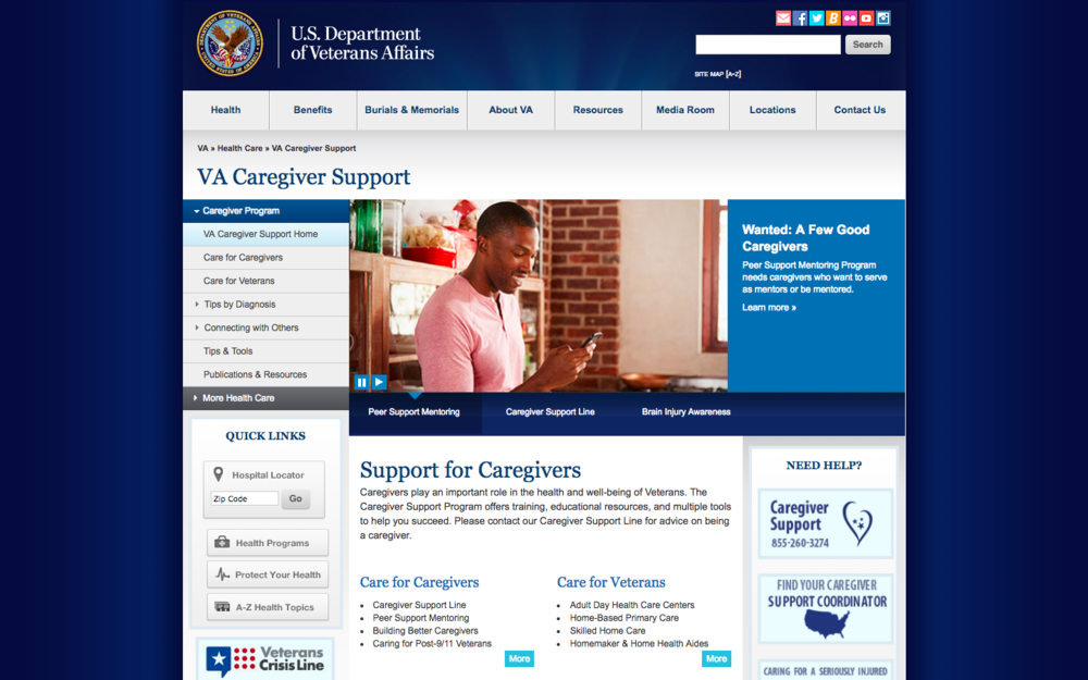 The current portal for the U.S. Department of Veterans Affairs caregiver support – caregiver.va.gov