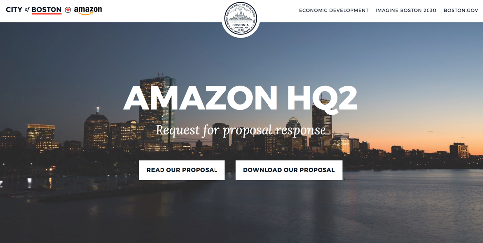 Screenshot of the website the City of Boston published with public information on their proposal to host Amazon's second headquarters