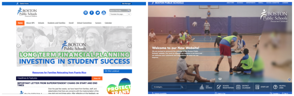 A side-by-side comparison of the BPS website (left: January 2018; right: May 2018)