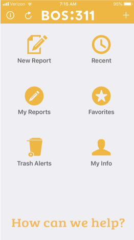 The City of Boston 311 app allows residents to submit service requests immediately to Code Enforcement Police Officers. It also links to other useful applications like one that reminds residents when to put trash out.