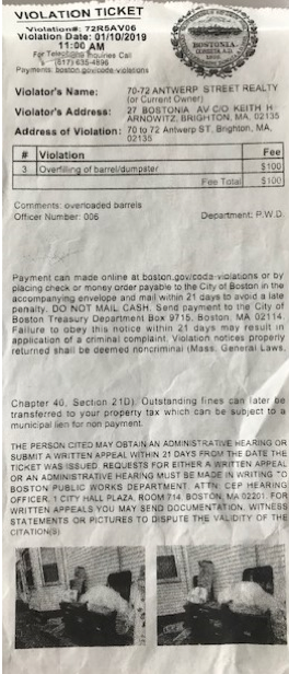 Example of Code Enforcement Violation Ticket
