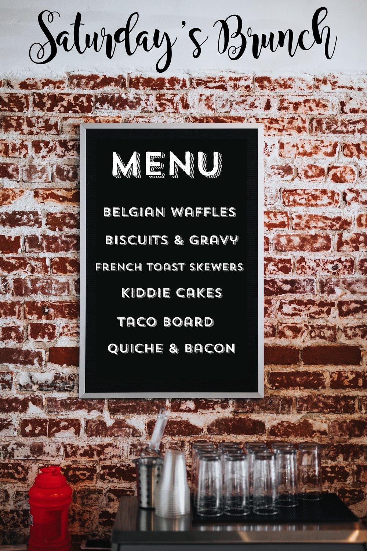 Retrofit's Saturday Brunch menu. Subject to change.