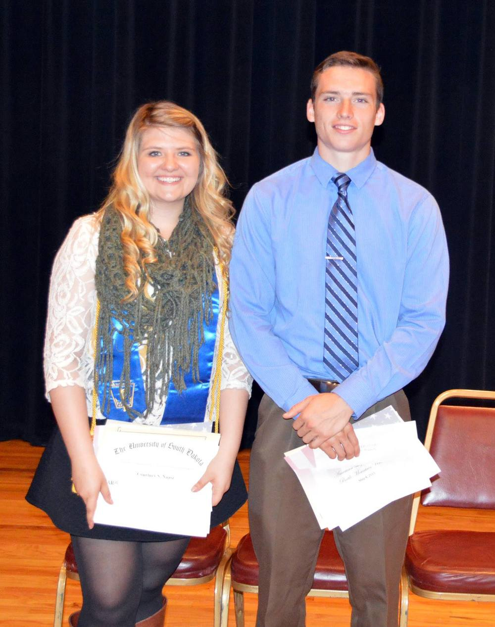 2015: Hot Springs Bison Booster Club $500 Scholarship Recipients Courtney Naasz and Grant Russell