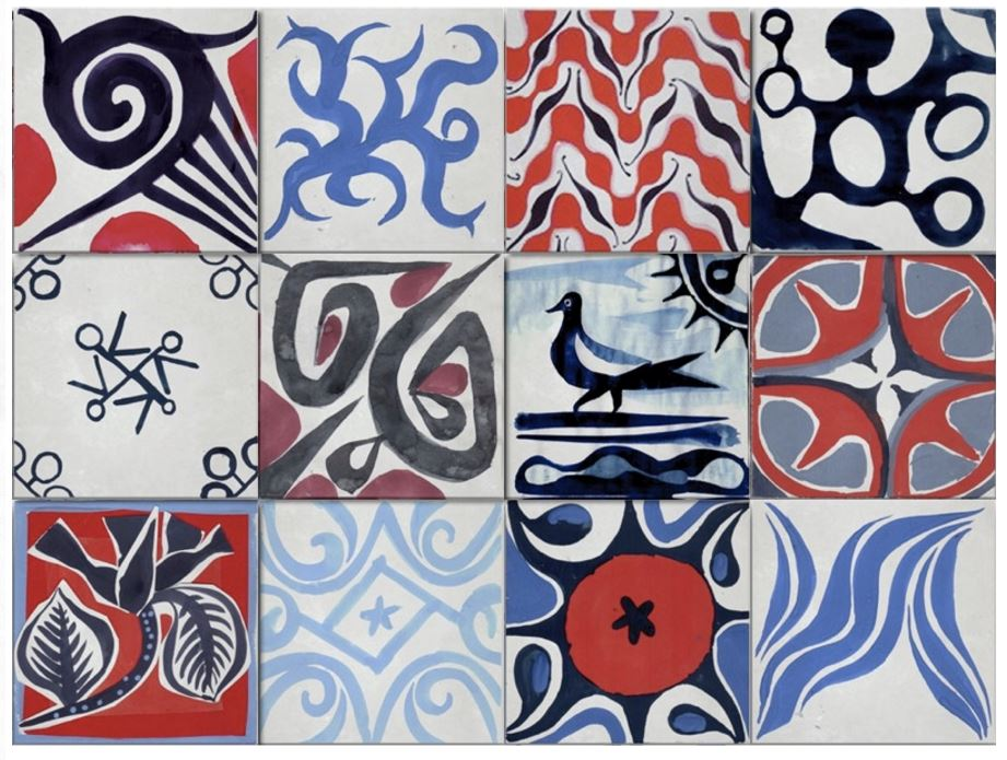 Ruan Hoffmann's Postcards from Myself Series on 8x8  encaustic cement tile - Love, Love this urban art sensibility