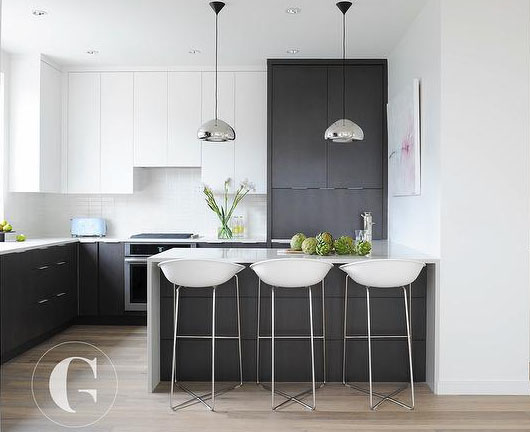 """Tuxedo Cabinets"" - Modern take on black & white by Gillian Segal Design"