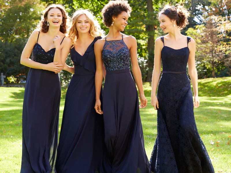Morilee bridesmaids in Navy. Find the style and colour of your choice.