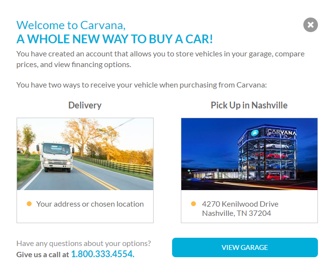 Carvana - car garage pop up