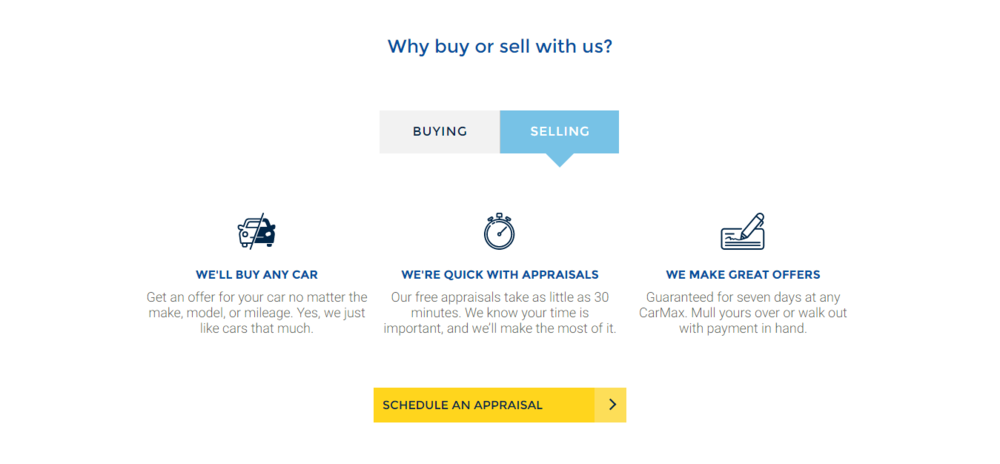 Carmax Homepage why sell with us