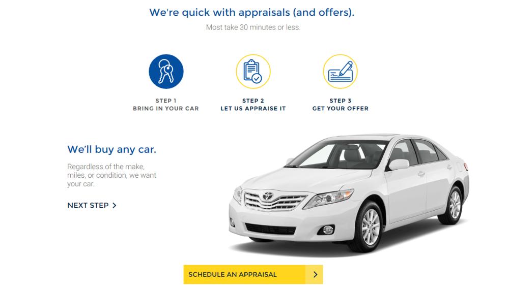 Carmax homepage - appraisals