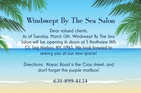 Windswept By The Sea Salon is opening its doors at 5 Northview Hills Ct on Tuesday, March 12! Call to book an appointment! Don't forget to look for the purple mailbox 💜 #windsweptbythesea #sagharbor #sagharborvillage #beach #windswept #hamptons