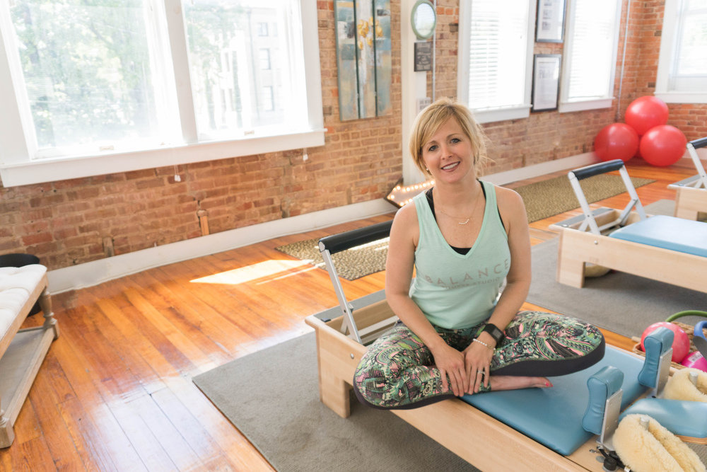 In the reformer room, where Lauren teaches Pilates throughout the day.