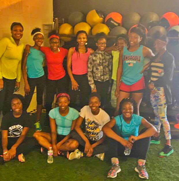 Cynthia and her track girls after a Crossfit class.