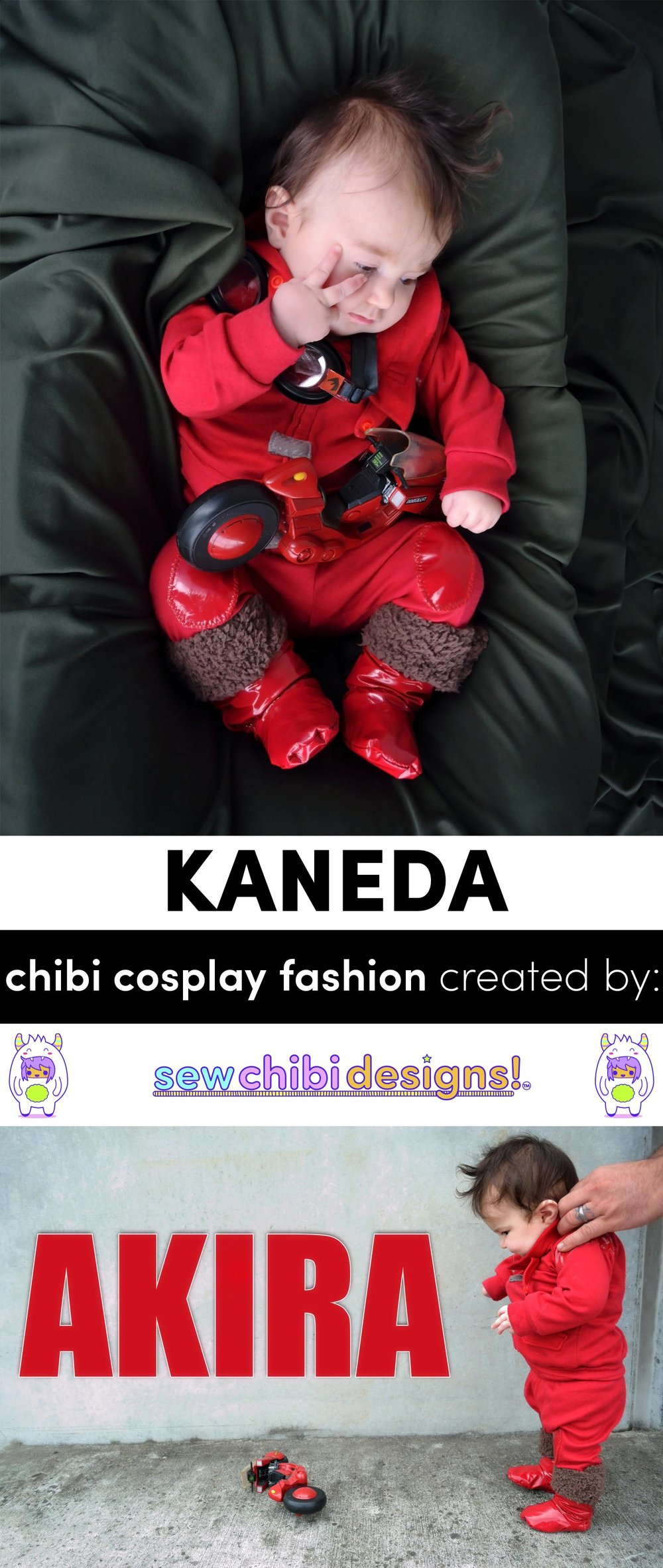 a very chibi Kaneda from AKIRA cosplay created and sewn by Sew Chibi Designs for Classic Anime themed Sew Geeky Series!