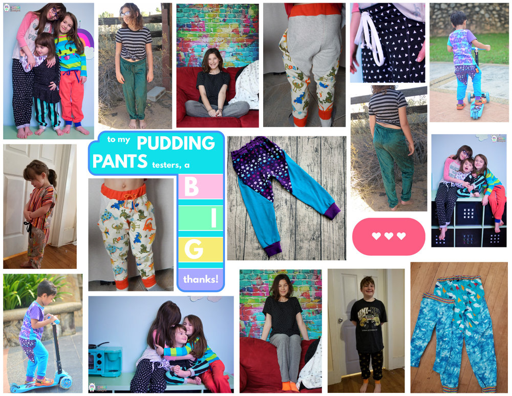 My Pudding Pants Testers were: Magda ( House of Estrela ), Nurul ( Luvly Bums ), Melissa ( Rebel and Malice ),  Kat ( the Perpetual Stitch ), and Laurie ( The Bear and Pea Atelier ).