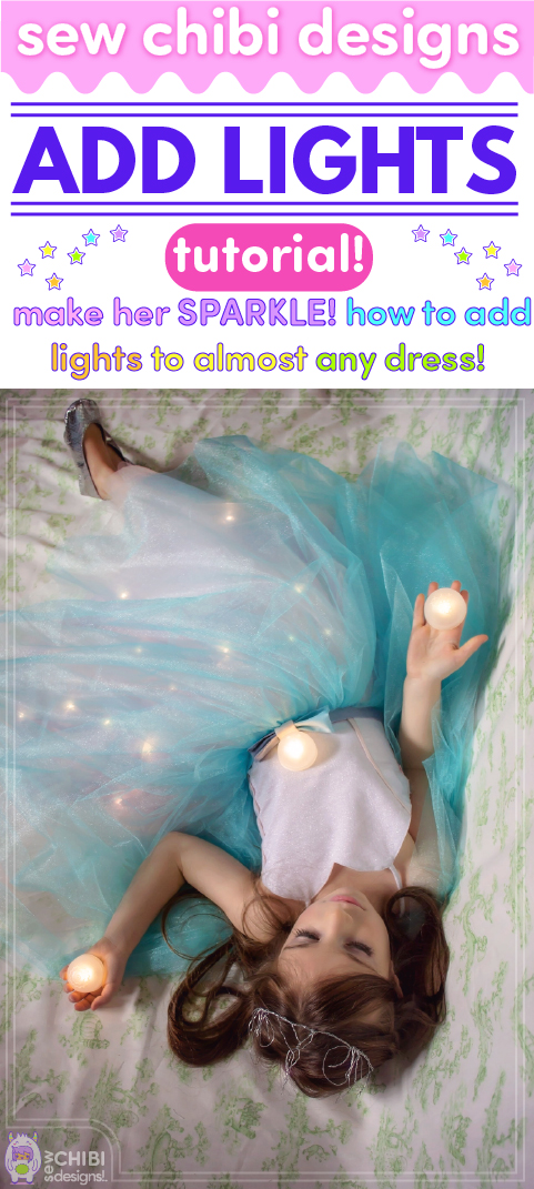 Add Lights Tutorial Make them sparkle for real with this illuminating tutorial on how to make a light up dress! It's really not as difficult as you might think! They will be the talk of the party in their shimmery dress made by you with this tutorial by Sew Chibi Designs! #sewlights