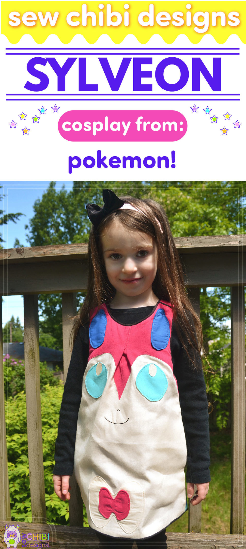 Sylveon chibi cosplay from Pokemon sewn by Sew Chibi Designs for Sew Geeky