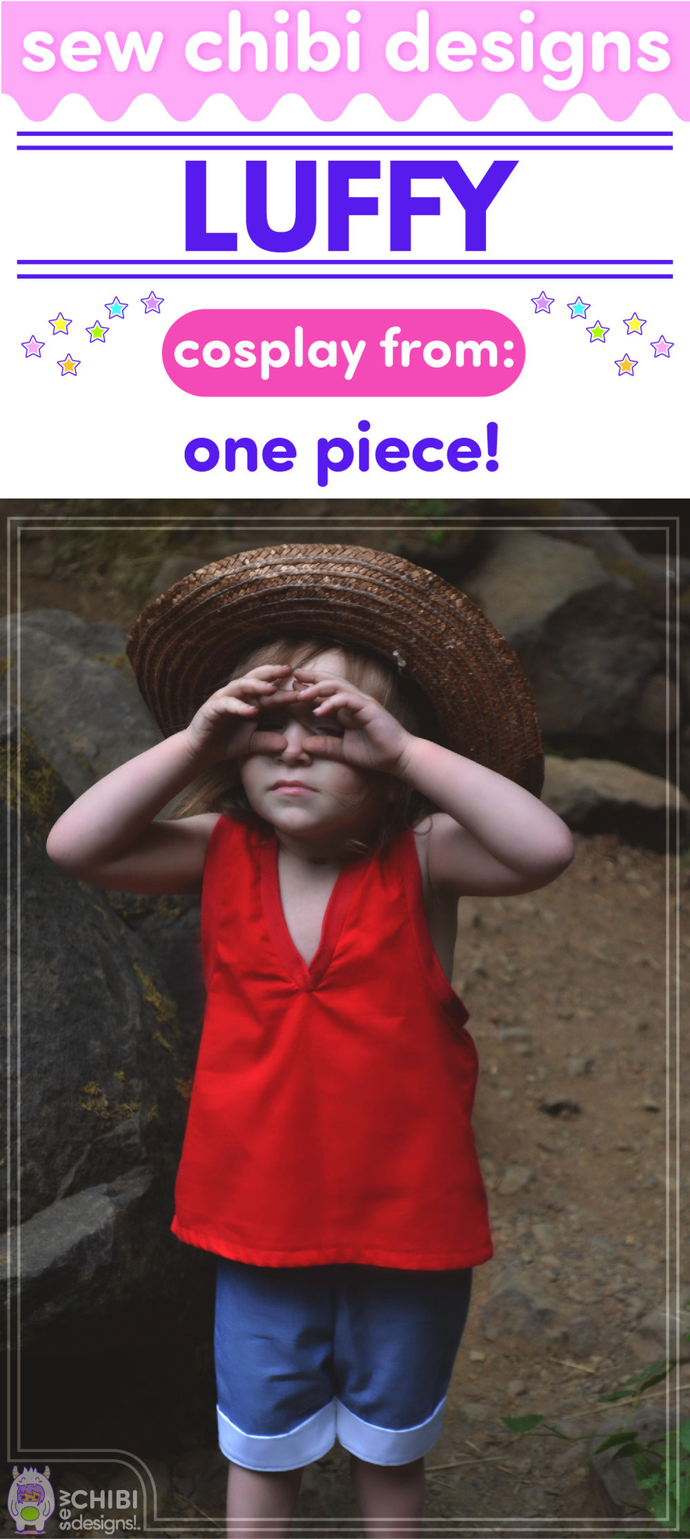 Luffy chibi cosplay from One Piece sewn by Sew Chibi Designs for Classic Anime Sew Geeky