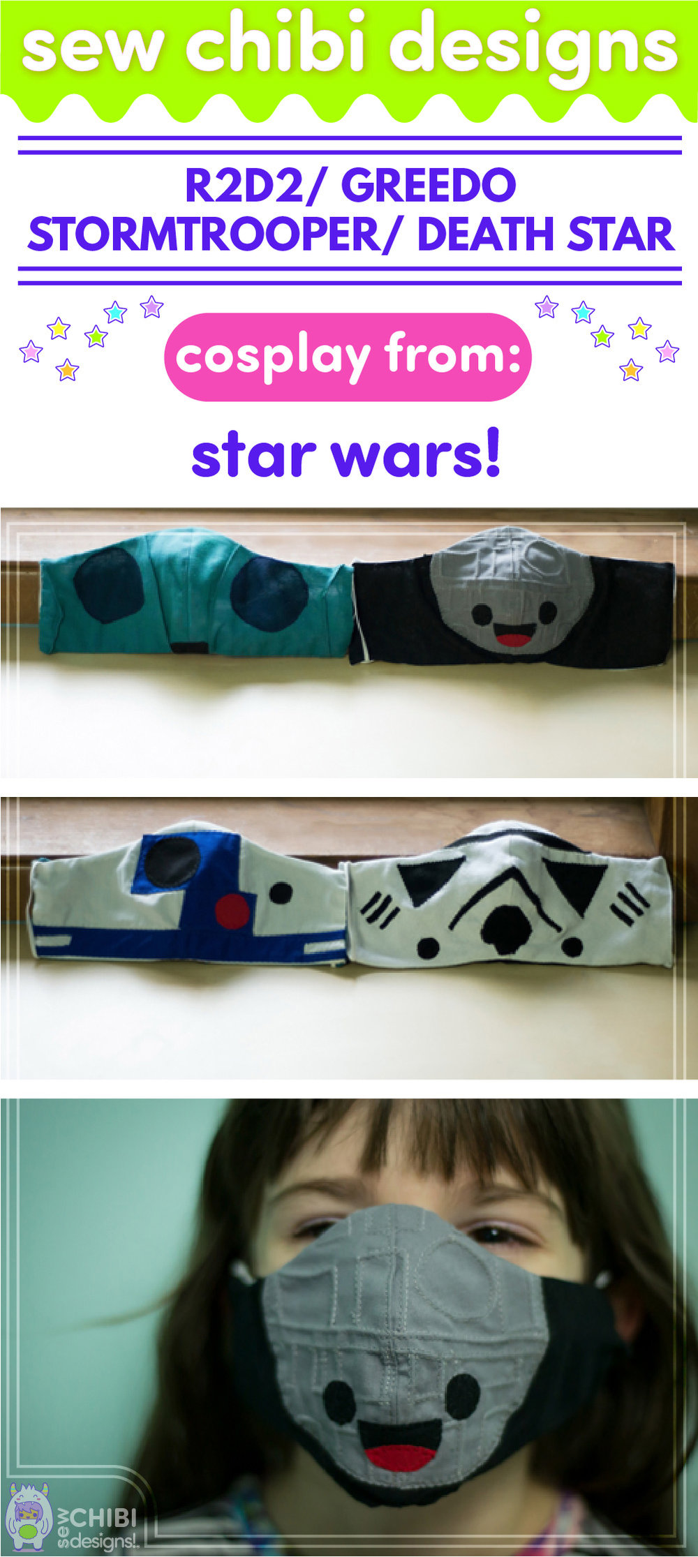 R2D2, Greedo, Stormtrooper, and Death Star chibi cosplay from Star Wars sewn by Sew Chibi Designs for Sew Geeky