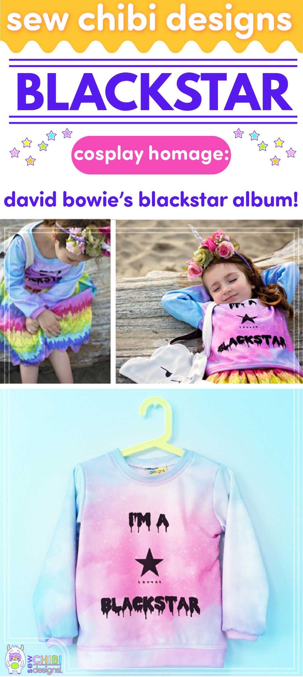 David Bowie Blackstar pastel goth and rainbows chibi cosplay sewn by Sew Chibi Designs for Sew Geeky