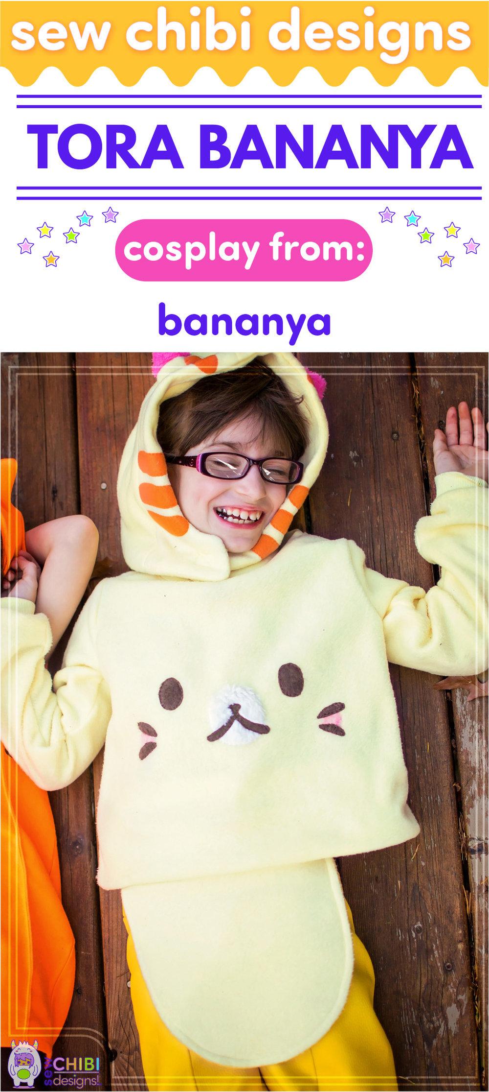 Tora ( とら ねこ ) Bananya chibi cosplay from Crunchyroll's Bananya ( ばなにゃ ) sewn by Sew Chibi Designs for Sew Geeky
