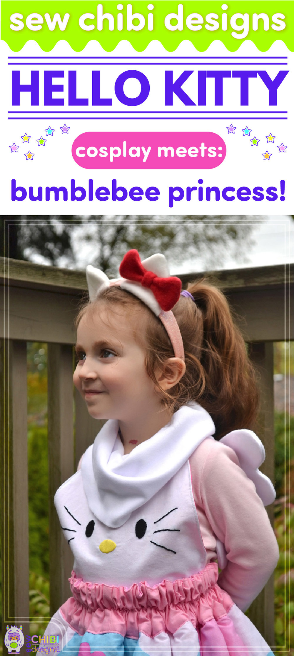 Hello Kitty Princess Bumblebee chibi cosplay sewn by Sew Chibi Designs for Sew Geeky