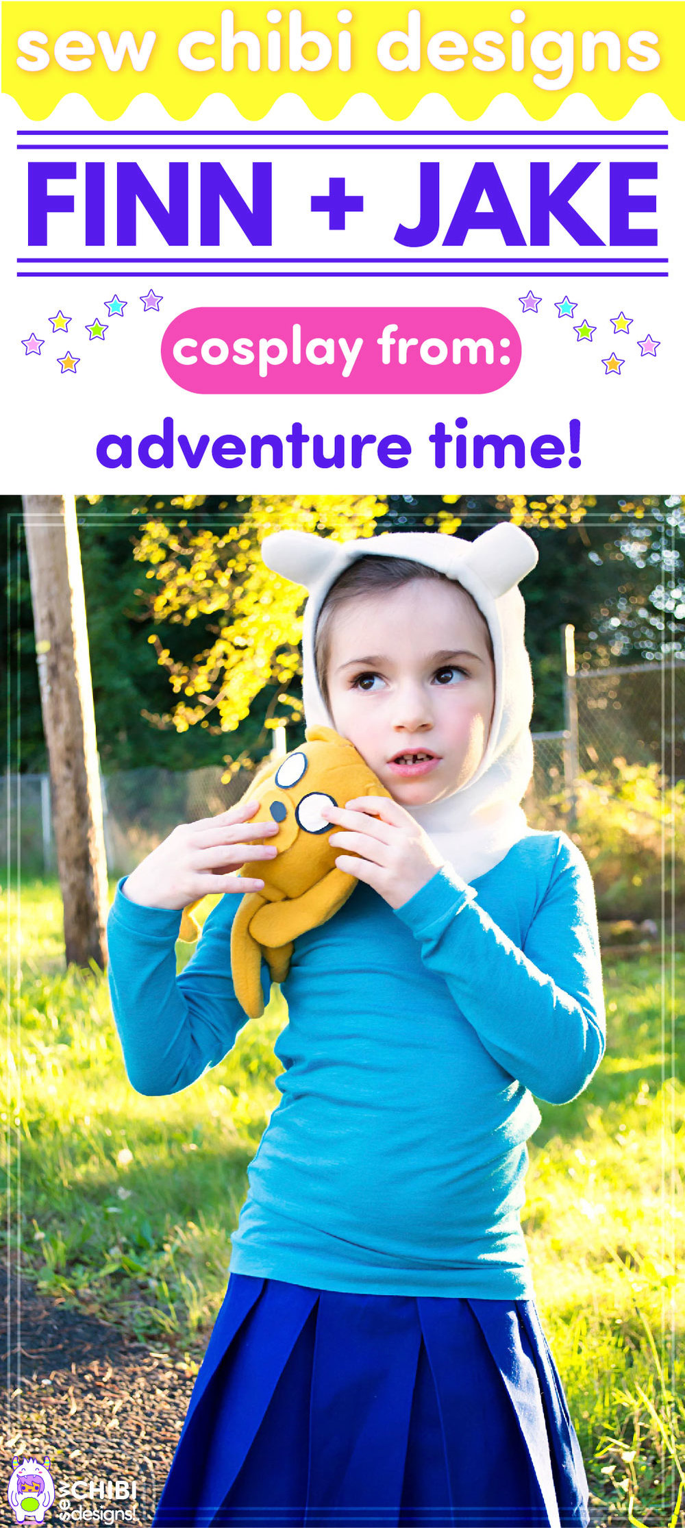 Finn and Jake chibi cosplay from Adventure Time sewn by Sew Chibi Designs for Sew Geeky