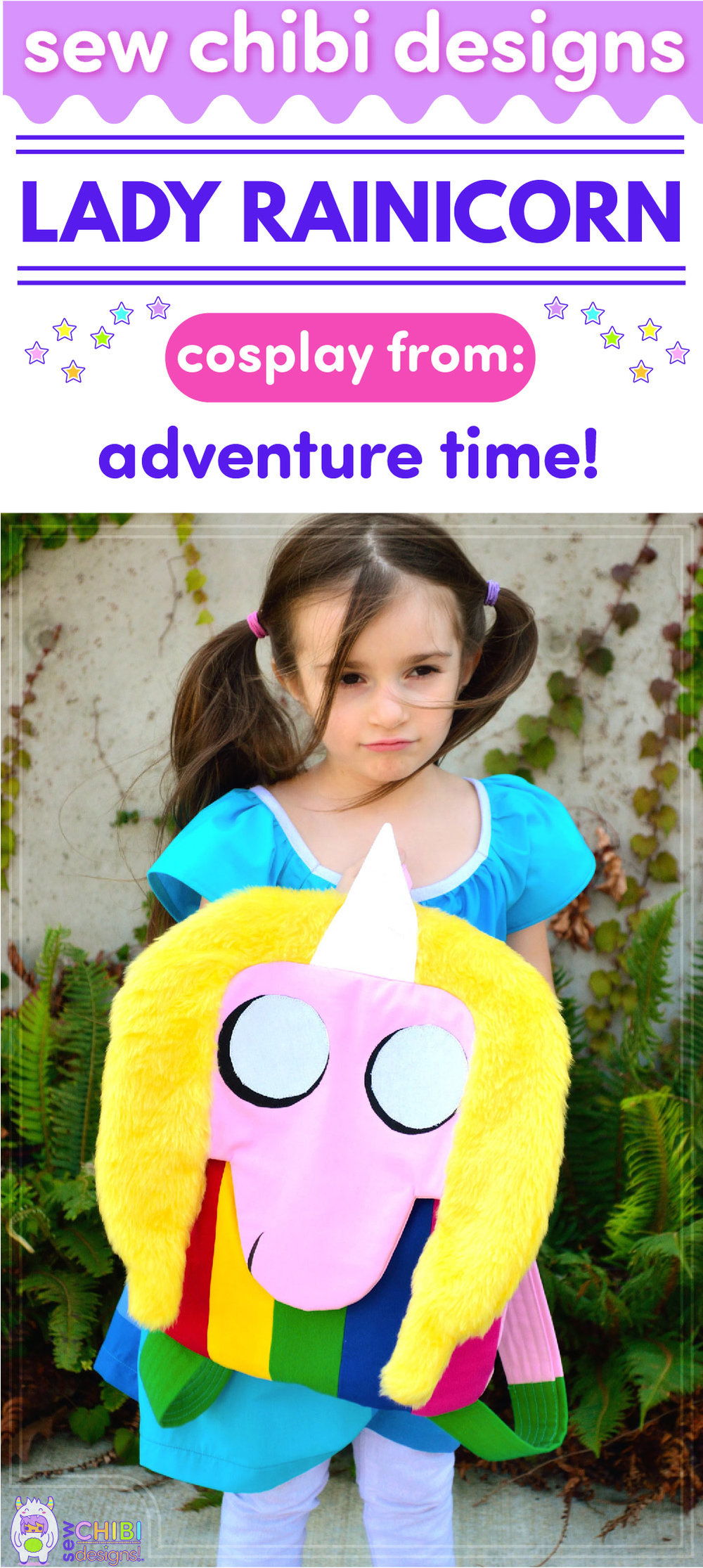 Lady Rainicorn backpack chibi cosplay from Adventure Time sewn by Sew Chibi Designs for Sew Geeky